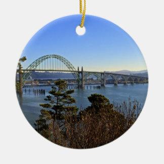 Newport Bridge over Yaquina Bay Round Ceramic Ornament