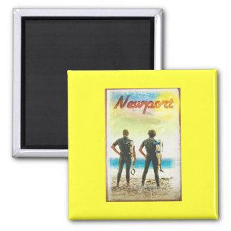 Newport California Vintage Surfer Print Magnet