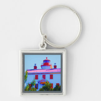 Newport Lighthouse at Yaquina Bay Silver-Colored Square Keychain