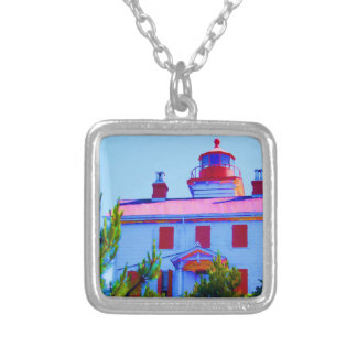 Newport Lighthouse at Yaquina Bay Silver Plated Necklace