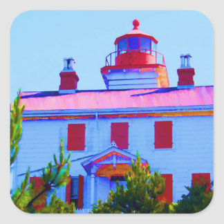 Newport Lighthouse at Yaquina Bay Square Sticker
