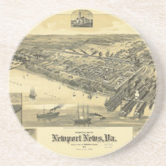 Newport News Virginia Warwick County Map 1891 Coaster