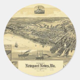Newport News Virginia Warwick County Map 1891 Round Sticker