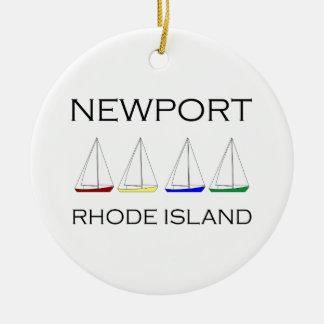 Newport Rhode Island Sailboats Ceramic Ornament