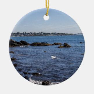 newport ri ocean view round ceramic ornament