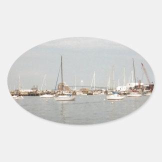 Newport sailing oval sticker