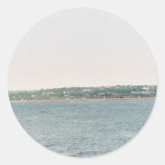 Newport shoreline round sticker