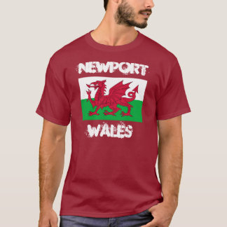 Newport, Wales with Welsh flag T-Shirt