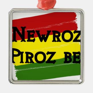 Newroz piroz be kurdistan Silver-Colored square ornament
