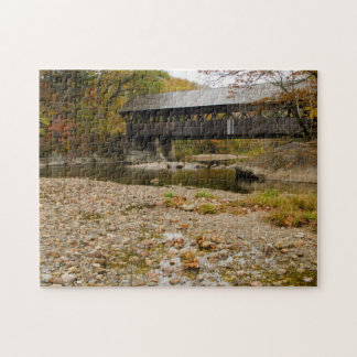 Newry Covered Bridge over river in autumn Jigsaw Puzzle