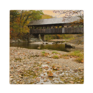 Newry Covered Bridge over river in autumn Wood Coaster