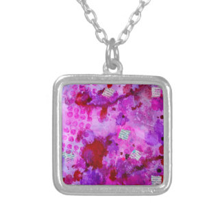 News pink silver plated necklace
