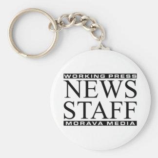 News Staff Basic Round Button Keychain