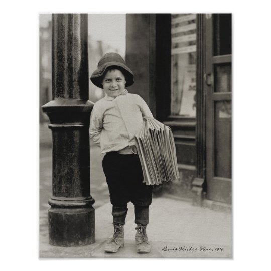 Newsboy in St. Louis by Lewis Wickes Hine, 1910 Poster