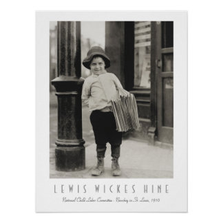Newsboy in St. Louis by Lewis Wickes Hine Poster