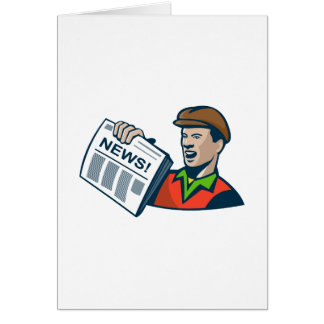 Newsboy Newspaper Delivery Retro Card