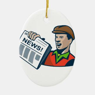 Newsboy Newspaper Delivery Retro Ceramic Ornament