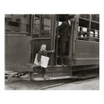 Newsboy Riding Trolley, 1910. Vintage Photo Poster