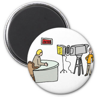Newscaster reporting live in a studio 2 inch round magnet