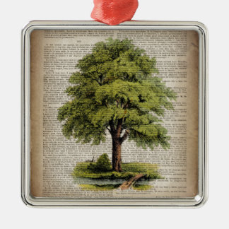 newspaper french botanical art vintage oak tree Silver-Colored square ornament
