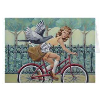 Newspaper Girl On Bicycle Art Card