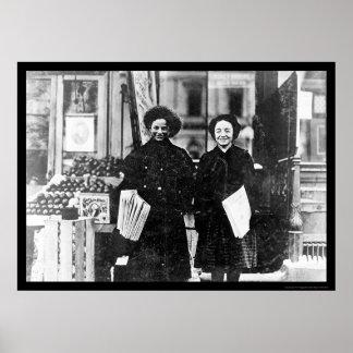 Newspaper Girls Hartford, CT 1909 Poster