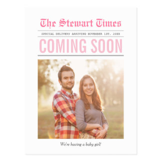 Newspaper | Pregnancy Announcement | Pink Postcard