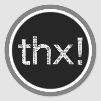 "Newspaper Print ""THX"" Typography Stickers"