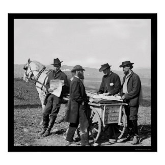 Newspaper Sales at a Union Army Camp in VA 1863 Poster