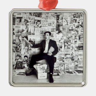Newspaper salesman, c.1960 metal ornament