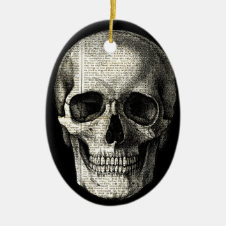 Newspaper skull ceramic ornament