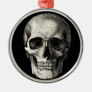 Newspaper skull metal ornament