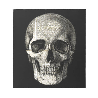 Newspaper skull notepad