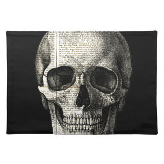 Newspaper skull placemat