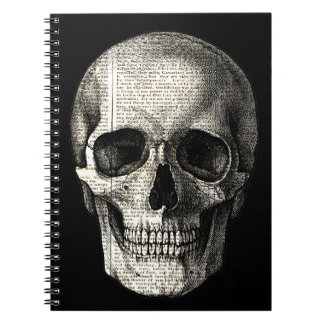 Newspaper skull spiral notebooks