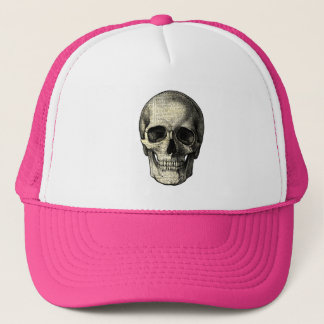 Newspaper skull trucker hat