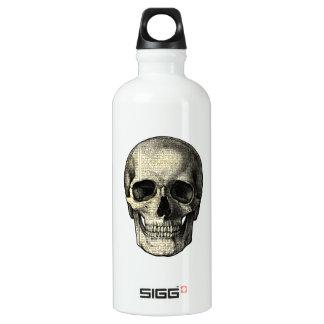 Newspaper skull water bottle