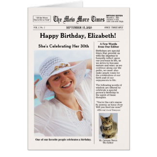 Newspaper Style with Cat Customizable Birthday Card