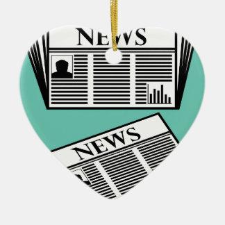 Newspaper Vector Ceramic Heart Ornament