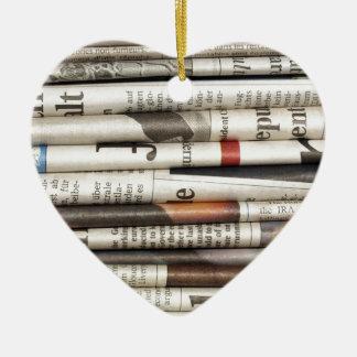 Newspapers Ceramic Heart Ornament
