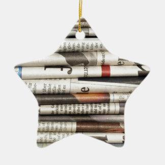 Newspapers Ceramic Ornament