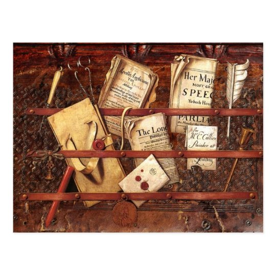 Newspapers, letters and writing implements postcard