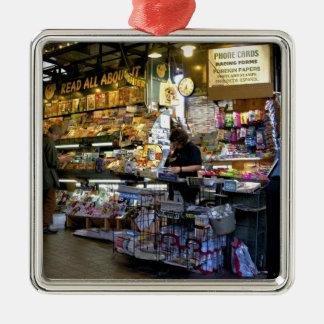 Newstand Silver-Colored Square Ornament