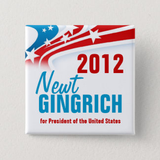 Newt Gingich 2 Inch Square Button