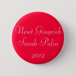 Newt Gingrich Sarah Palin 2012 2 Inch Round Button