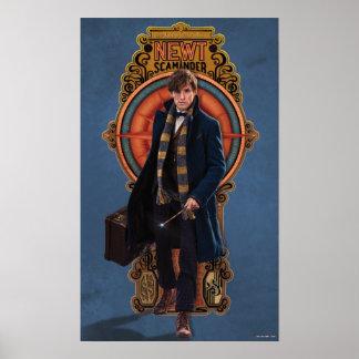 Newt Scamander Walking Art Nouveau Panel Poster