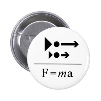 Newton Second Law 2 Inch Round Button