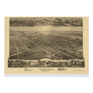 Newtown, PA Panoramic Map - 1893 Poster