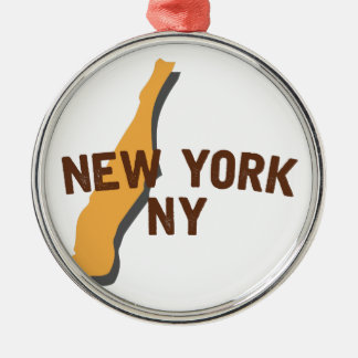 Newyork NY Silver-Colored Round Ornament