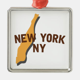 Newyork NY Silver-Colored Square Ornament